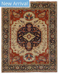 Exquisite Rugs Serapi Hand Knotted Ivory - Blue Area Rug