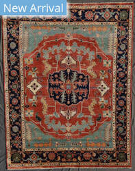 Exquisite Rugs Serapi Hand Knotted Rust - Navy Area Rug