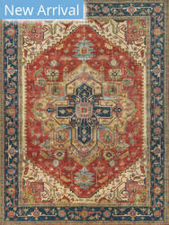 Exquisite Rugs Serapi Hand Knotted Red - Blue Area Rug