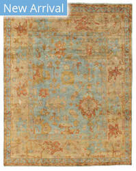 Exquisite Rugs Oushak Hand Knotted Dark Blue - Beige Area Rug