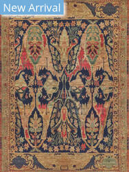 Exquisite Rugs Jurassic Hand Knotted Blue - Beige Area Rug