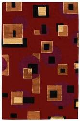 828 Tibetan Collection TIB70 Red/Black/Tan Area Rug