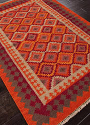 Addison And Banks Flat Weave Abr0018 Red / Medium Tabasco Area Rug