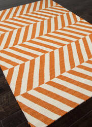 Addison And Banks Flat Weave Abr0478 Orange - White Area Rug
