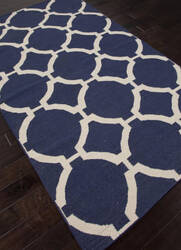 Addison And Banks Flat Weave Abr0493 Deep Navy - Antique White Area Rug