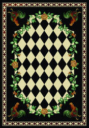 American Dakota Novelty High Country Rooster Black Area Rug
