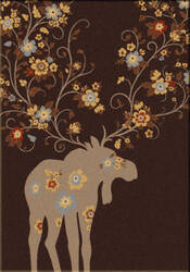 American Dakota National Park Moose Blossom Chocolate Area Rug