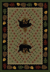 American Dakota National Park Patchwork Bear Green Area Rug