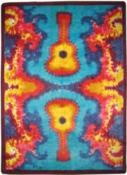 American Dakota Motor Head Tie Dye Guitar  Area Rug
