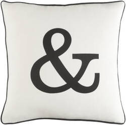 Surya Glyph Pillow Ampersand White - Black