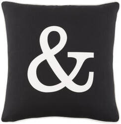 Surya Glyph Pillow Ampersand Black - White
