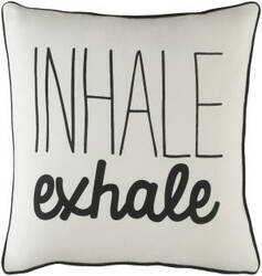 Surya Glyph Pillow Inhale/Exhale White - Black