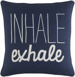 Surya Glyph Pillow Inhale/Exhale Navy - White
