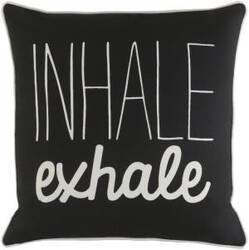Surya Glyph Pillow Inhale/Exhale Black - White