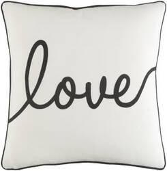 Surya Glyph Pillow Romantic Love White - Black