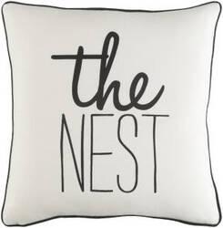 Surya Glyph Pillow The Nest White - Black