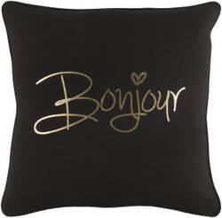 Surya Glyph Pillow Bonjour Black - Metallic Gold