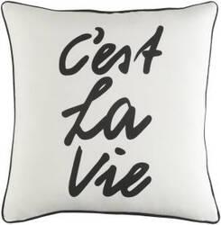 Surya Glyph Pillow C'est La Vie White - Black