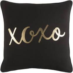 Surya Glyph Pillow Hugs And Kisses Black - Metallic Gold