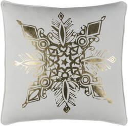 Surya Holiday Pillow Snowflake Holi7254 Metallic Gold