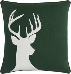 Surya Holiday Pillow Deer Holi7261 Forest Green
