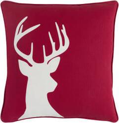 Surya Holiday Pillow Deer Holi7271 Crimson Red