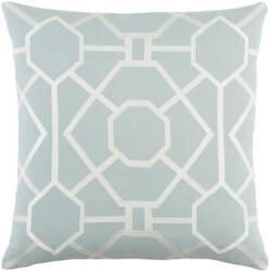 Surya Kingdom Pillow Porcelain Dusty Aqua - White