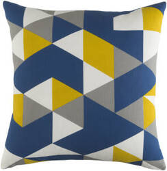 Surya Trudy Pillow Geometry Blue - Yellow - Gray