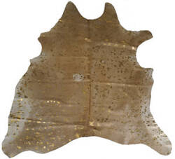 BS Trading Cowhide 147873 Gold And White Area Rug