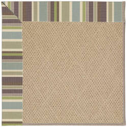 Capel Zoe Cane Wicker 1990 Blue Stripe Area Rug