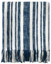 Company C Denim Stripe Throw 10776 Navy