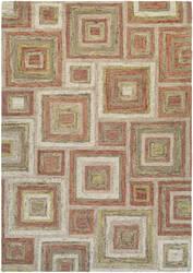 Couristan Graphite Contrasting Squares Ivory - Rose Area Rug