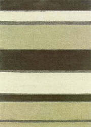 Couristan Super Indo Natural Retro Stripe Linen - Beige - White Area Rug