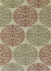 Couristan Five Seasons Montecito Cream - Coral Red Area Rug