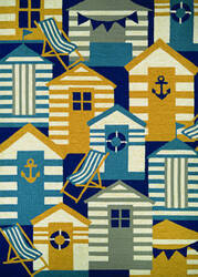 Couristan Outdoor Escape Beach Hut Navy - Multi Area Rug