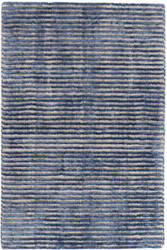 Dash And Albert Cut Stripe Knotted Indigo Area Rug