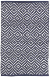 Dash And Albert Diamond Indoor-Outdoor Navy - White Area Rug