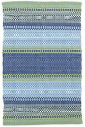 Dash And Albert Fiesta Stripe Indoor - Outdoor French Blue-Green Area Rug