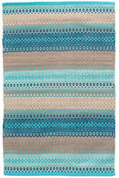 Dash And Albert Gypsy Cotton Turquoise - Grey Area Rug