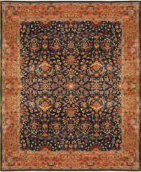 Due Process Bengal Sarouk Navy - Salmon Area Rug