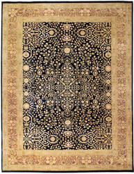Due Process Khyber Sarouk Navy - Rose Area Rug