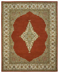 Due Process Tufted Mohtesham Open Field Rust - Ivory Area Rug
