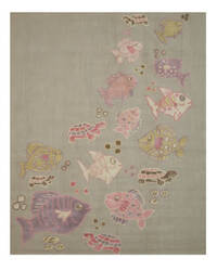 Eastern Rugs Kid's Fish And Turtle T139gy Grey Area Rug