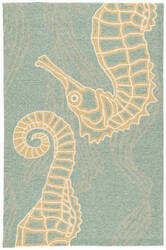 Jaipur Living Coastal Lagoon Sea Horsing Around Col24 Canal Blue - Alabaster Gleam Area Rug