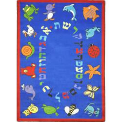 Joy Carpets Kid Essentials Abc Animals Hebrew Blue Area Rug