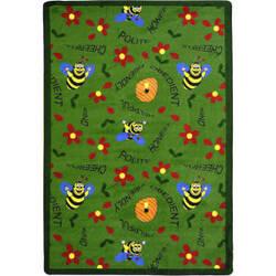 Joy Carpets Kid Essentials Bee Attitudes Green Area Rug