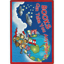 Joy Carpets Kid Essentials Books Can Take You Anywhere Sky Blue Area Rug