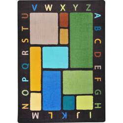 Joy Carpets Kid Essentials Building Blocks Earthtone Area Rug