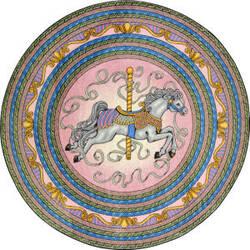 Joy Carpets Kid Essentials Carousel Pink Area Rug