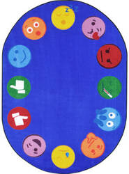 Joy Carpets Kid Essentials Emoji Edge Multi Area Rug